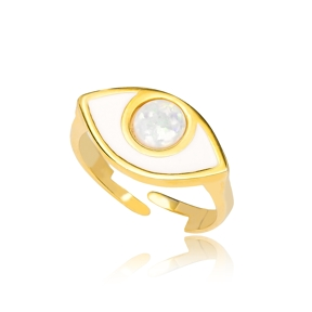 White Opal Stone Evil Eye Adjustable Handcrafted Ring Turkish Wholesale 925 Sterling Silver Jewelry