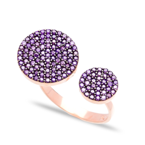 Amethyst Adjustable Round Ring In Turkish Wholesale Handcrafted Silver Jewelry