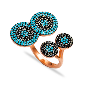 Fashionable Silver Nano Turquoise Ring Turkish Wholesale Handcrafted Silver Jewelry
