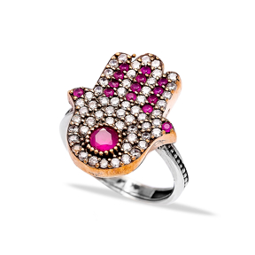 Ottoman Hamsa Desing Wholesale Handcrafted Authentic Silver Ring