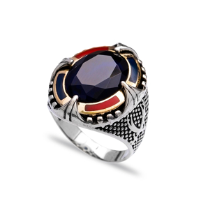 Sapphire Authentic Men Ring Wholesale Handmade 925 Sterling Silver