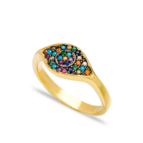 Rainbow Stone Evil Eye Design Cluster Ring Wholesale Handcrafted 925 Sterling Silver Jewelry
