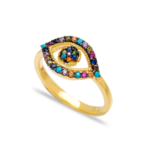 Colorful Stone Evil Eye Design Cluster Ring Wholesale Handcrafted 925 Sterling Silver Jewelry