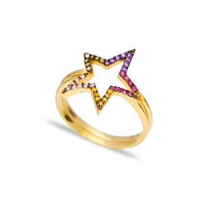 Combinable Binary Ring Mix Stone Star Design Wholesale Handcrafted 925 Sterling Silver Jewelry