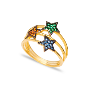 Triple Minimalist Star Charm Mix Stone Ring Wholesale Handcrafted 925 Sterling Silver Jewelry