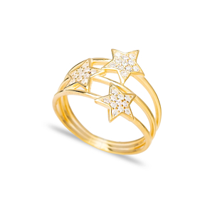 Triple Minimalist Star Charm Zircon Stone Ring Wholesale Handcrafted 925 Sterling Silver Jewelry