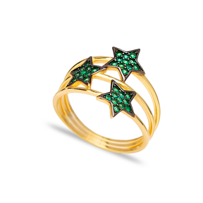 Triple Minimalist Star Charm Emerald Stone Ring Wholesale Handcrafted 925 Sterling Silver Jewelry