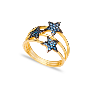 Aquamarine Stone Triple Minimalist Star Charm Ring Wholesale Handcrafted 925 Sterling Silver Jewelry