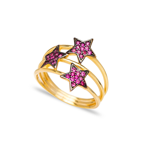 Triple Minimalist Star Charm Ruby Ring Wholesale Handcrafted 925 Sterling Silver Jewelry