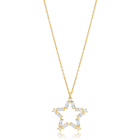 Minimalist Star Design With Baguette StoneTurkish Wholesale 925 Sterling Silver Charm Pendant