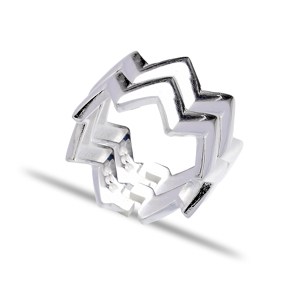 Turkish Wholesale Handcrafted Sterling Zigzag Silver Ring
