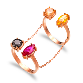 Colorful Stone Adjustable Chain Double Ring Turkish Handcrafted Wholesale 925 Sterling Silver Jewelry