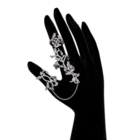 Turkish Wholesale Handcrafted Sterling Double Chain Silver Ring