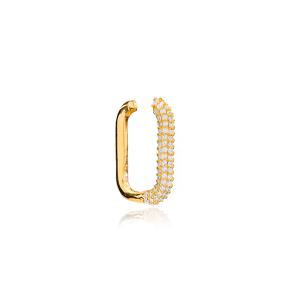 Trendy Zircon Cartilage Single Earring Wholesale Turkish Handmade 925 Sterling Silver Jewelry
