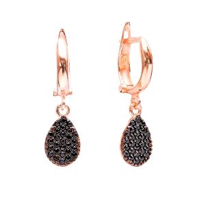 Dangle Clip On Drop Shape Earrings Turkish Wholesale Sterling Silver Earring