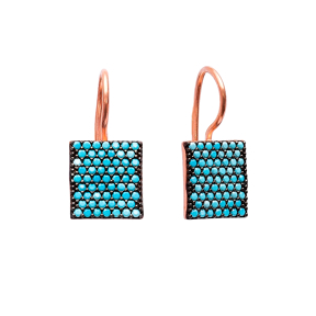 Nano Turquoise Square Design Turkish Wholesale Handcrafted Silver Earring