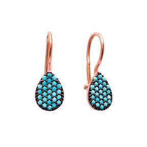 Teardrop Hook Earring Turkish Wholesale 925 Sterling Silver Jewelry