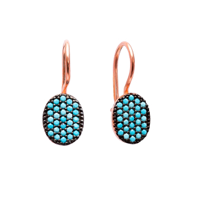 Nano Turquoise Ear Cuff Turkish Wholesale Handcrafted Silver Earring
