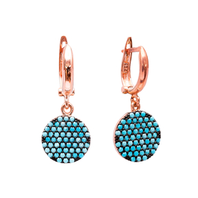 Nano Turquoise Circle Design Turkish Wholesale Handcrafted Silver Earring