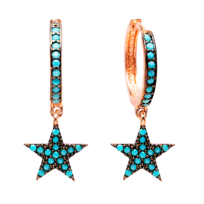 Star Nano Turquoise Dangle  Earrings Turkish Wholesale Handmade Sterling Silver Earring