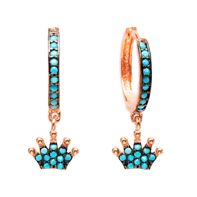 Crown Nano Turquoise Dangle Earrings Turkish Wholesale Handmade Sterling Silver Earring