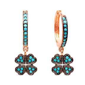 Dangle Clover Earrings Turkish Wholesale Handmade Sterling Silver Earring