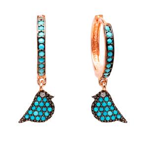 Bird Dangle Earrings Turkish Wholesale Handmade Sterling Silver Jewelry