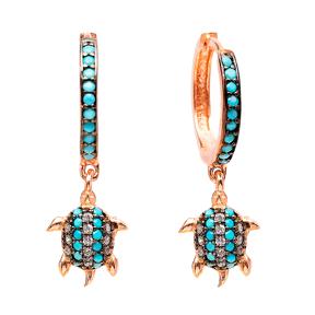 Dangle Turtle Earrings Turkish Wholesale Handmade Sterling Silver Earring