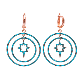 Star Turkish Wholesale Handcrafted Silver Round Dangle Earring
