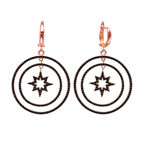 Turkish Wholesale Handcrafted Silver Star Round Dangle Earring