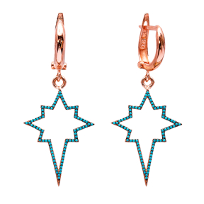 Turkish Wholesale Handcrafted Silver Star Dangle Earring