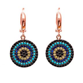Evil Eye Dangle Clip On Earrings Turkish Wholesale Sterling Silver Earring