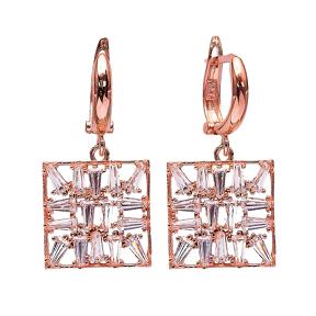 Baguette Dangle Clip On Earrings Turkish Wholesale Sterling Silver Earring