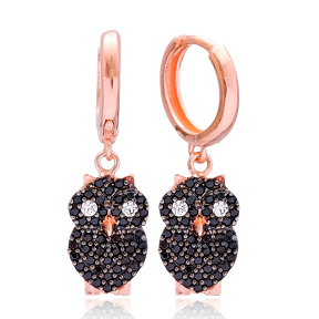 Owl Design Dangle Earring, Turkish Wholesale 925 Sterling Silver Earring