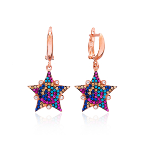 Rainbow Sheriff Star Design Turkish Wholesale 925 Sterling Silver Jewelry Earring