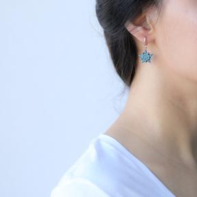 Sheriff Star Design Turkish Wholesale Sterling Silver Jewelry Earring