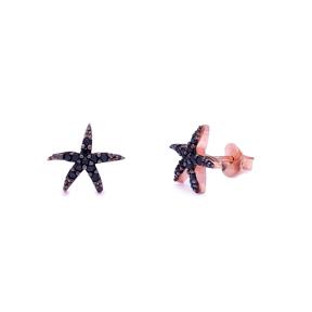 Fashion Starfish Design Black Zircon Stud Earrings 925 Sterling Silver Jewelry