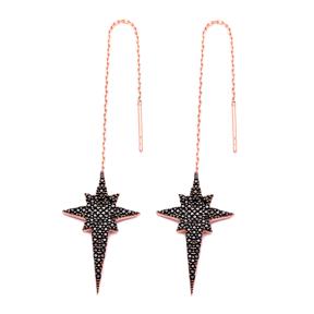 Sterling Silver Ear Thread North Star Earrings Turkish Wholesale Sterling Silver Chain Earring