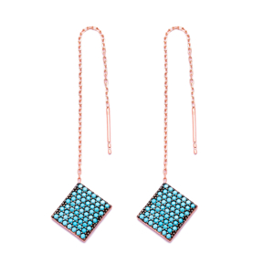 Nano Turquoise Ear Cuff Square Design Turkish Wholesale Handcrafted Silver Earring