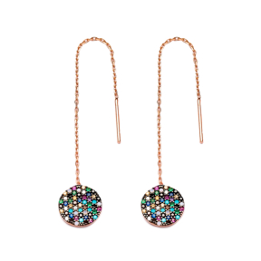 Mix Stone Round Thread Earrings Wholesale Turkish Sterling Silver Earring