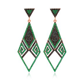 Emerald Delicate Chandelier Earrings Turkish Wholesale 925 Sterling Silver Jewelry