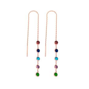 Rainbow Elegant Threader Earrings Wholesale 925 Sterling Silver Jewelry