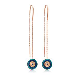 Evil Eye Design Threader Earrings Wholesale 925 Sterling Silver Jewelry