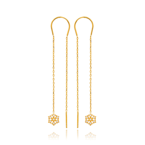 Snowflake Design Threader Earrings Wholesale 925 Sterling Silver Jewelry