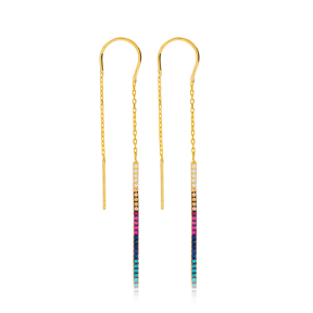 Rainbow Thin Design Threader Earrings Wholesale 925 Sterling Silver Jewelry