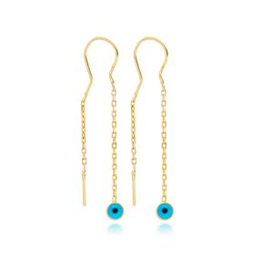 Dainty Evil Eye Design Threader Earrings Wholesale 925 Sterling Silver Jewelry