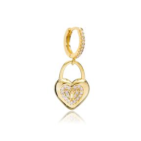 Heart In Padlock Design Single Earring Turkish Wholesale Handmade 925 Sterling Silver Jewelry
