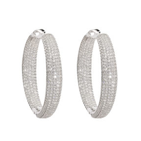 Pave Bar Stone Circle Earring Wholesale Turkish Sterling Silver Earring