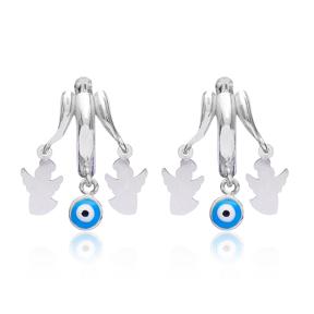 Evil Eye Simple Angle Earrings Turkish Wholesale 925 Sterling Silver Jewelry