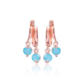 Aquamarine Stone Earrings Turkish Wholesale 925 Sterling Silver Jewelry